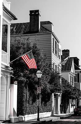 Photograph - God Bless America- Church St Charleston Sc by Donnie Whitaker