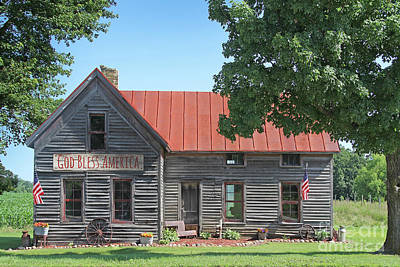 Photograph - God Bless America Farm House by Jean Plout
