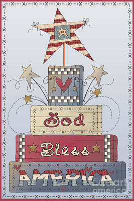 Stitching Painting - God Bless America-jp2839 by Jean Plout