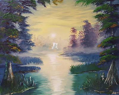 Cypress Swamp Painting - God Bless Louisiana by Nicolas Avet