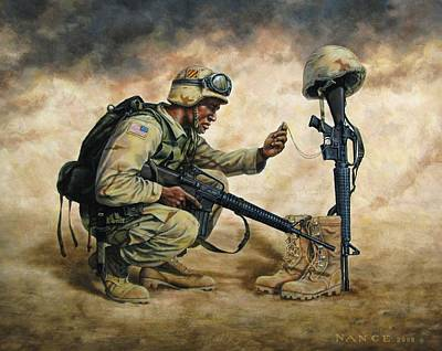 Afghanistan Painting - God Bless Our Troops by Dan  Nance