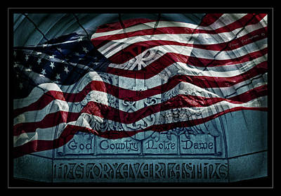 Engraving Photograph - God Country Notre Dame American Flag by John Stephens