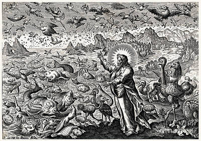 God Creating Birds And Fish, 17th Art Print by Wellcome Images