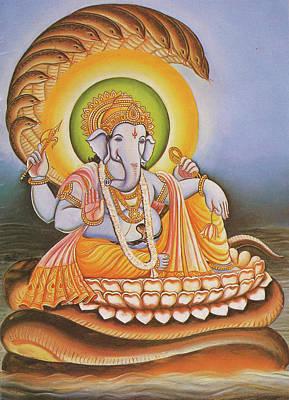 Data Painting - God Ganesha, Ganapati, Gajanan, Vinayak, Miniature Painting Of India, Online Art Gallery. by Jagannath