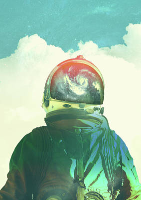Trippy Digital Art - God Is An Astronaut by Fran Rodriguez