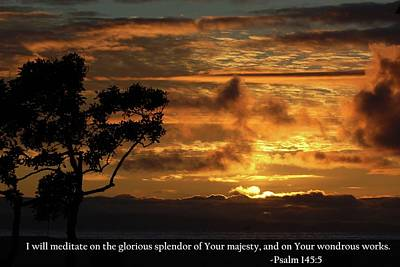 Photograph - God Majestically Paints The Sky With Psalm 145-5 Scripture by Matt Harang