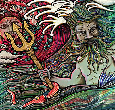 Drawing - God Of The Sea by Julie Oakes