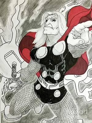 Thor Drawing - God Of Thunder by Scott Davis