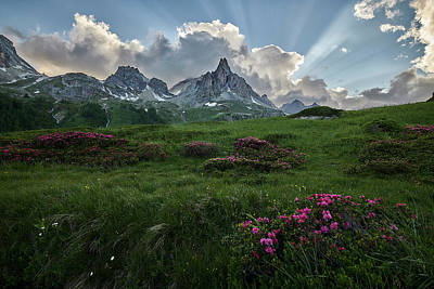 Photograph - God Rays In The French Alps by Jon Glaser