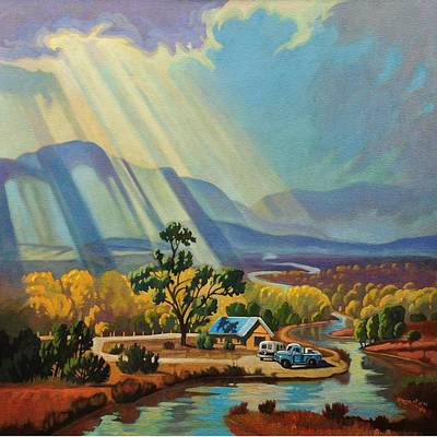 Painting - God Rays On A Blue Roof by Art West