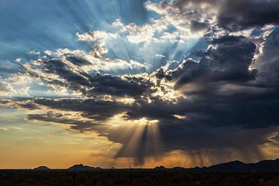 Photograph - God Rays Over Arizona  by Saija Lehtonen