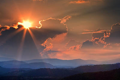 God Rays Over N C  Mountains Art Print