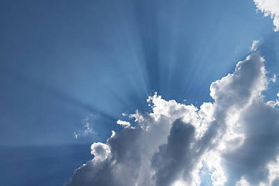 Photograph - God Rays - Soft Clouds And Radiating Sunbeams by Georgia Mizuleva