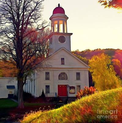 Photograph - God Shed His Grace On Thee - Unionville Ny Church by Janine Riley
