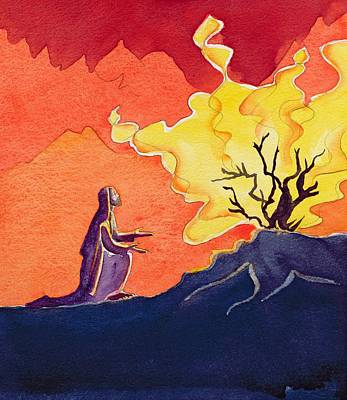 God Speaks To Moses From The Burning Bush Art Print
