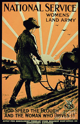 Rising Sun Painting - God Speed The Plough And The Woman Who Drives It by American School