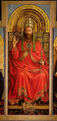 Tiara Painting - God The Father by Hubert and Jan Van Eyck