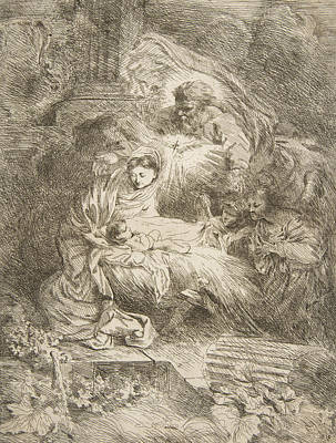 Relief - God The Father Observing The Virgin And Child, Angels To The Right by Giovanni Benedetto Castiglione