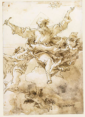 Drawing - God The Father Supported By Angels by Giovanni Domenico Tiepolo