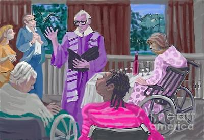 Wine Service Drawing - God Visits The Elderly by Shirl Solomon
