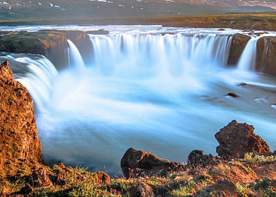 Photograph - Godafoss At Midnight by Tom and Pat Cory