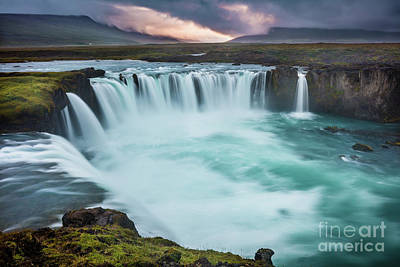 Northeastern Photograph - Godafoss Sunset by Inge Johnsson