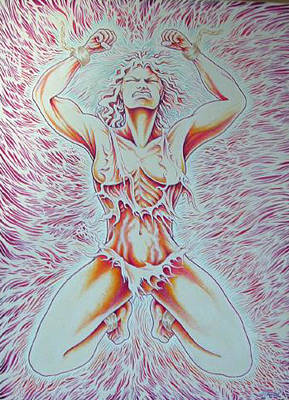 Woman Painting - Goddess Breaking Chains by Jacki Randall