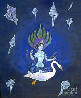 Swan Goddess Painting - Goddess Crossing The Galaxy On Swan by Doris Blessington