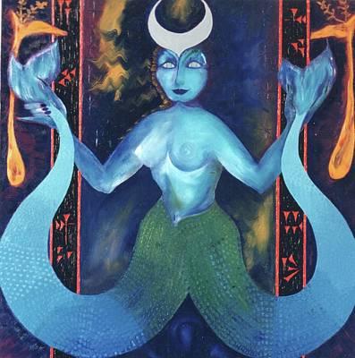 Painting - Goddess Danae / Orisha Yemoja by Linda Falorio