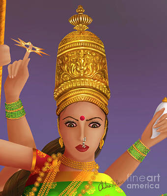 Painting - Goddess Durga by Chitra Helkar