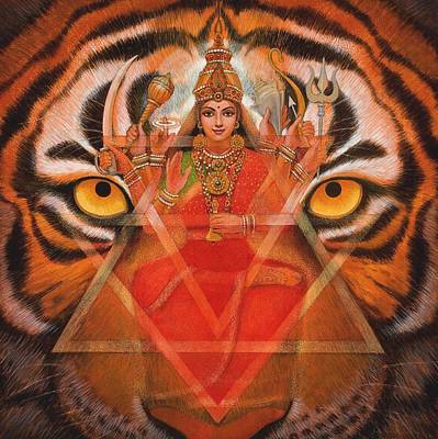Tiger Painting - Goddess Durga by Sue Halstenberg