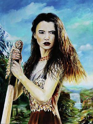Norse Goddess Painting - Goddess Freyja Overlooking The Folkvangr by Steve James