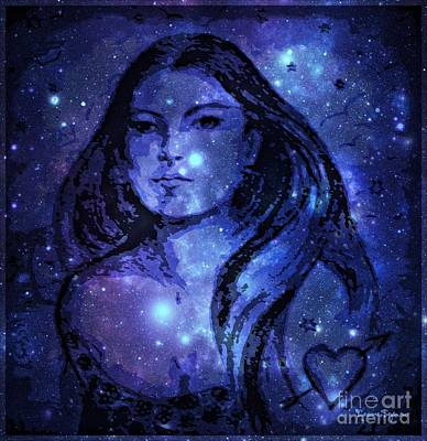 Drawing - Goddess In Blue by Leanne Seymour