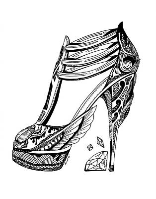 Drawing - Goddess Isis High Heel by Kenal Louis