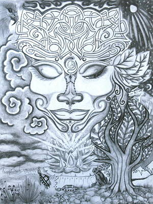 Cosmic Drawing - Goddess Of Feminine Divine by Jenna Chandler