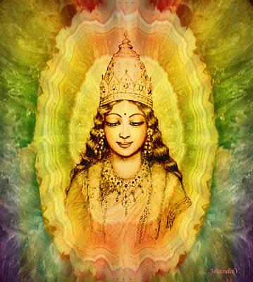 Angel Art Mixed Media - Goddess Of Gems by Ananda Vdovic