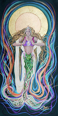 Angel Mermaids Ocean Painting - Goddess Of Intention by Angel Fritz
