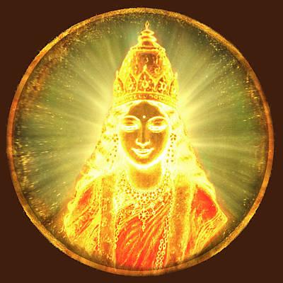 Goddess Of Light Round Art Print