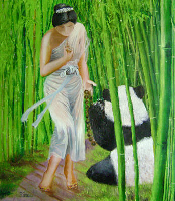 Goddess Of Mercy And Panda Art Print by Lian Zhen