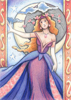 Mucha Drawing - Goddess Of The Waning Moon by Amy S Turner