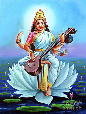 Painting - Goddess Of Wisdom And Knowledge by Ragunath Venkatraman