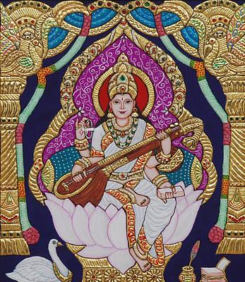 Swan Goddess Painting - Goddess Saraswati by Vimala Jajoo
