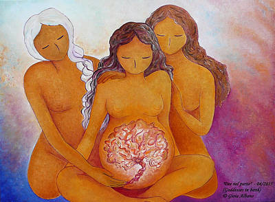Goddesses In Birth  Art Print by Gioia Albano