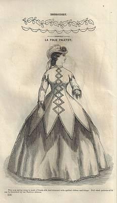 Godey 1865 - La Folie Paletot Art Print by Karen Szatkowski