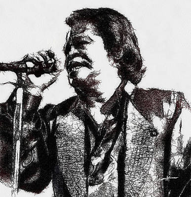 Blues Singer Drawings Drawing - Godfather Of Soul by Anthony Caruso