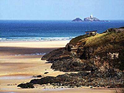 Photograph - Godrevy Lighthouse From Porthkidney Beach by Joy of Life Art Gallery