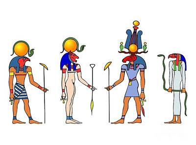 Reptiles Drawings - Gods and Goddess of ancient Egypt by Michal Boubin