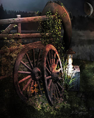 Wagon Wheels Digital Art - God's Country by Jean Gugliuzza