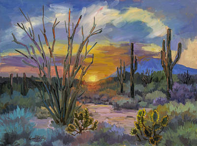 Desert Sunset Painting - God's Day - Sonoran Desert by Diane McClary