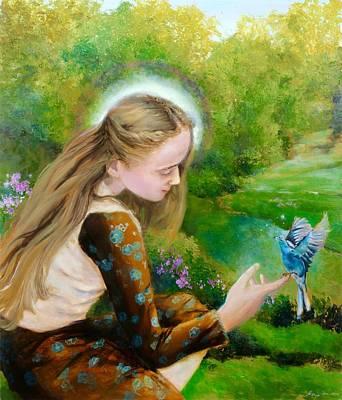 Jesus With Girl Painting - God's Dream by Marija Schwarz